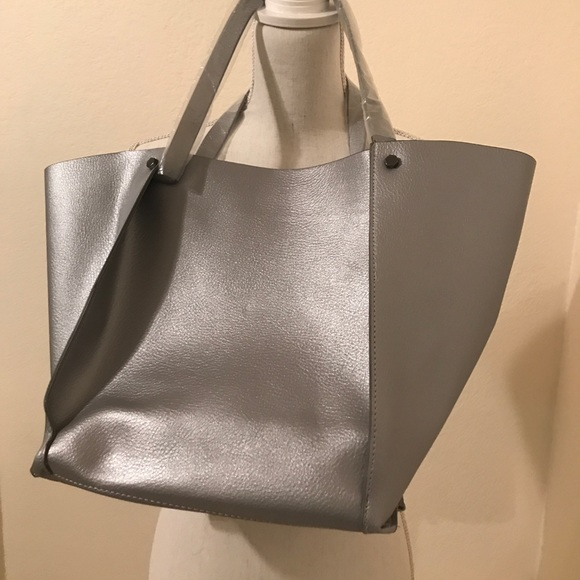 Neiman Marcus Handbags - Neiman Marcus Silver/Pewter Lg Tote